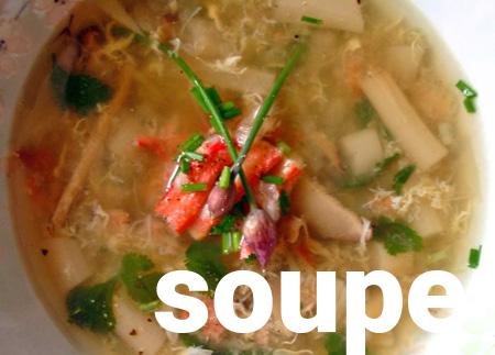 Soupe d'asperges au crabe